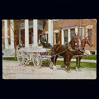 Antique Fire Wagon Postcard, Red Oak Iowa