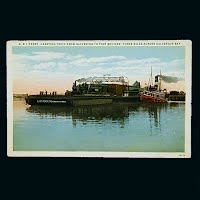 Antique Postcard, G & I Ferry carrying a train