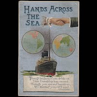 Antique Post Card, Hands Across the Sea, Germany 1911