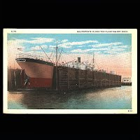 Antique Post Card, Galveston Floating Dry Dock, Seawall Specialty Company