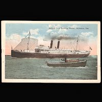Antique Post Card, Mallory Liner Entering Galveston, Seawall Specialty Company 1918