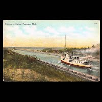 Antique Ship Transportation Post Card, Entrance to Pentwater, Mich Harbor, Carney Publisher