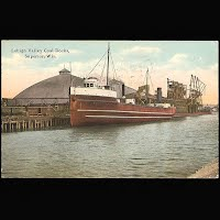 Antique Ship Transportation Post Card, Lehigh Valley Coal Docks, Superior, Wis, Knox Publisher