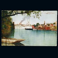 1910 Antique Postcard, Harbor at South Haven