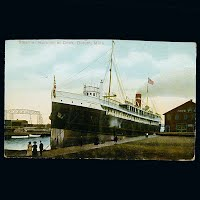 Antique German Postcard, Steamer Huronic at Dock in Duluth Minn
