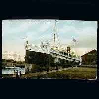 Antique German Postcard, Steamer Huronic at Dock in Duluth Minn