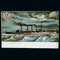 Antique Postcard, US Battleship Virginia