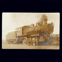 Antique Photo Postcard, Steam Engine in Kelly Lake Yard