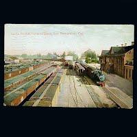 Antique Postcard, Santa Fe Rail Road Yard & Depot San Bernardino California