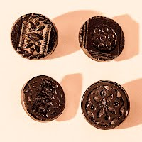 Antique Round Carved Black Buttons