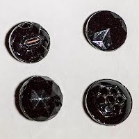 Antique Tiny Faceted Black Glass Buttons