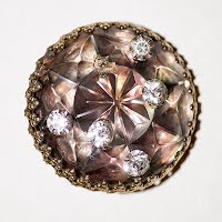Antique Large Faceted Lucite and Rhinestones Button