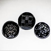 Antique Round Black Glass Carved Buttons (2)