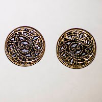 Antique Round Filigree Metal Buttons (2)