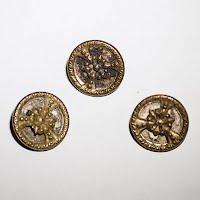 Antique Round Metal Flower Buttons (3)