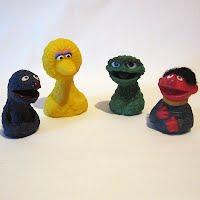 Vintage 1970 Sesame Street Finger Puppets