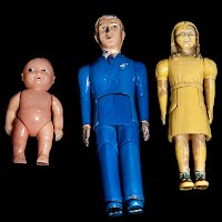 Vintage Renwal Plastic Dollhouse People Baby, Father, Sister