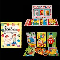 Vintage Sewing Cards, Buttons and Posy Play, 1969, Saalfield