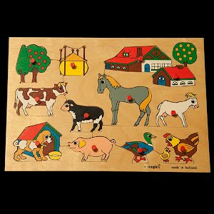 Vintage Wooden Simplex Holland Farm Animals Puzzle