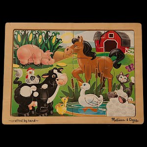 Vintage Wood Farm Animals Puzzle Handcrafted Melissa and Doug
