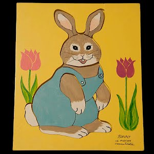 Vintage Donna Winter Wooden Bunny Puzzle