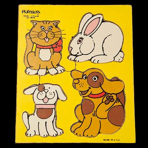 Vintage Playskool My Pets Children Wooden Puzzle