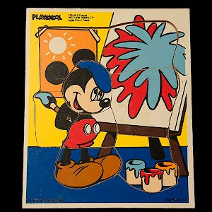 Vintage Mickey Mouse Playskool Picture Perfect Wooden Puzzle