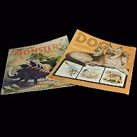 Vintage Dinosaurs and Dogs coloring books