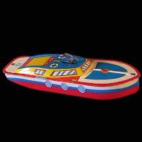 Vintage Tin Lithograph Toy Speedboat, Ohio Art Company