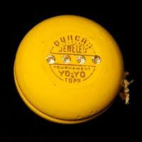 Vintage 1950 Duncan yellow Jeweled Tourament Yo-Yo
