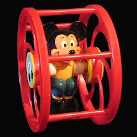 Vintage Disney Mickey Mouse Rolling Wheel Baby Toy