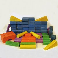 Vintage Multicolored Wooden Building Blocks
