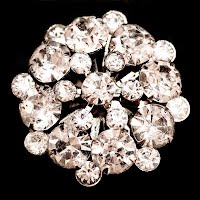 Antique metal Round Rhinestone Pin