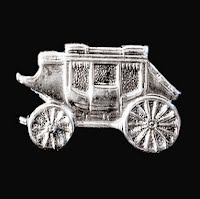Antique metal Sterling Stagecoach Pin