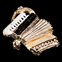 Vintage metal Accordion Pin, black and white