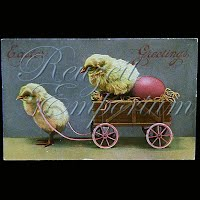 Antique Theochrom Easter Postcard 1912