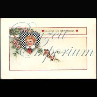 Antique Valentine Postcard with child, heart, birds