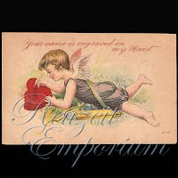 Antique Valentine Postcard with cherubs, hearts