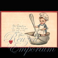 Antique Gibson Art  Valentine Postcard with child cooking