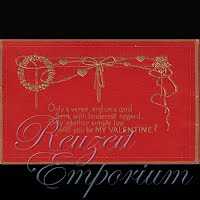 Antique Valentine Postcard on red cardboard with gold