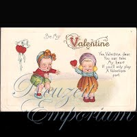 Antique Valentine Postcard with babies