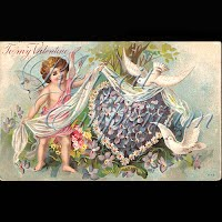 Antique German Valentine Postcard with cupid, doves, flowers
