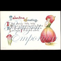Antique Valentine Postcard with tulips, girl