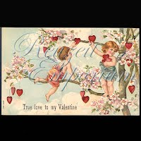 Antique Valentine Postcard with cherubs, heart, flowers