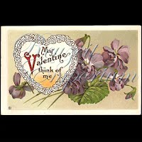 Antique Valentine Postcard with violets