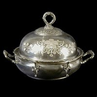 Antique Engraved Silver Plate Butter Dish, Homan Silver Plate 1890