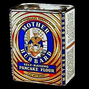 Vintage Mother Hubbard Pancake Flour container, 1956