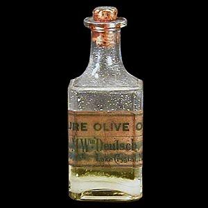 Antique 1900 Olive Oil Bottle, E W Bartlett, Druggest Lake Crystal Minn