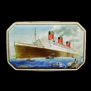 Antique Tin Benson Candy Container with picture of the Queen Mary oceanliner
