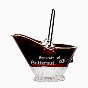 Antique Novelty Ruby Stained Coal Scuttle or coal bucket, Souvenir of Butternut, Wis